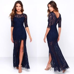 NWT LULU'S Only One Navy Blue Lace Maxi Dress Slit